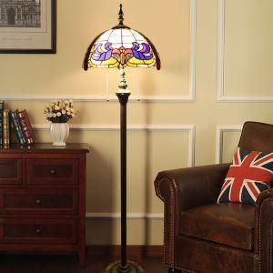 Tiffany Floor Lamp Handmade Stained Glass Shade Standard Lamp Euporean Pattern