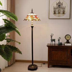 Tiffany Floor Lamp Handmade Stained Glass Shade Rose Standard Lamp