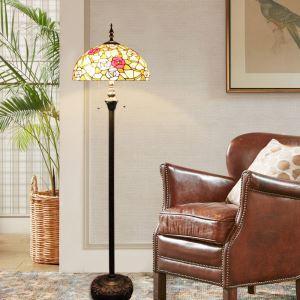 Tiffany Floor Lamp Handmade Roses Stained Glass Shade Standard Lamp