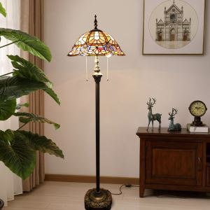 Tiffany Floor Lamp European Style Handmade Stained Glass Shade Standard Lamp