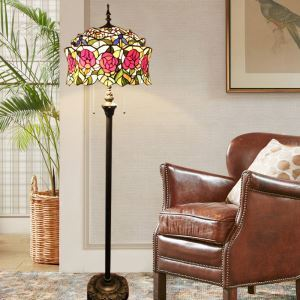 Tiffany Floor Lamp Handmade Stained Glass Shade Standard Lamp Roses Design