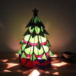 Tiffany Table Lamp Handmade Colorful Christmas Tree Table Lamp