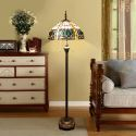 Tiffany Floor Lamp Handmade Stained Glass Shade Vintage Standard Lamp