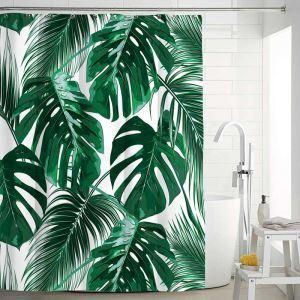 Waterproof Mouldproof Shower Curtain Modern Banana Leaves Printed Bath Curtain