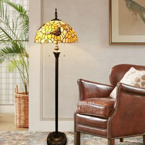 Tiffany Floor Lamp Handmade Stained Glass Shade Standard Lamp Butterfly Design