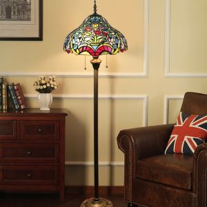 Tiffany Floor Lamp Handmade Stained Glass Shade Standard Lamp Tulips Design