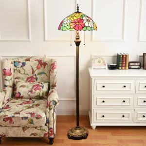 Tiffany Floor Lamp Handmade Stained Glass Shade Standard Lamp Colorful Flowers