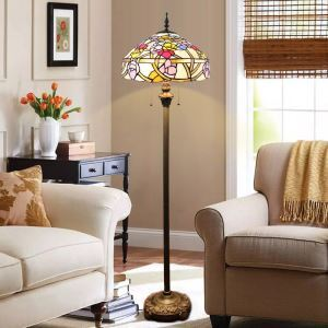 Tiffany Floor Lamp Handmade Colorful Flowers Stained Glass Shade Standard Lamp