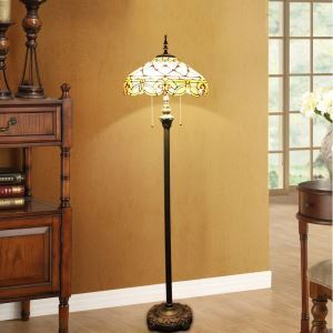 Tiffany Floor Lamp Handmade Stained Glass Shade Standard Lamp