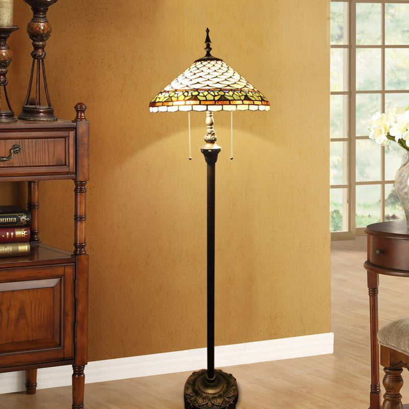 Tiffany Floor Lamp Handmade Stained Glass Shade Standard