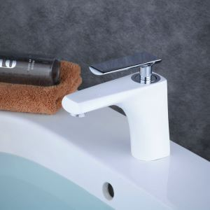 Contemporary Sink Faucet Stoving Varnish White Sink Faucet Single Chrome Handle Faucet