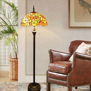 Tiffany Floor Lamp Handmade Stained Glass Shade Standard Lamp Flowers Design