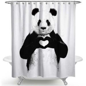 Creative Shower Curtain Lovely Panda Printed Bath Curtain