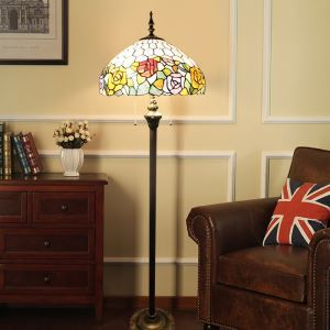 Tiffany Floor Lamp Handmade Stained Glass Shade Standard Lamp Roses and Leaves