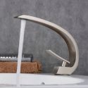 Contemporary Nickel Brushed Sink Faucet Single Handle Arc Mixer Tap BL9006N