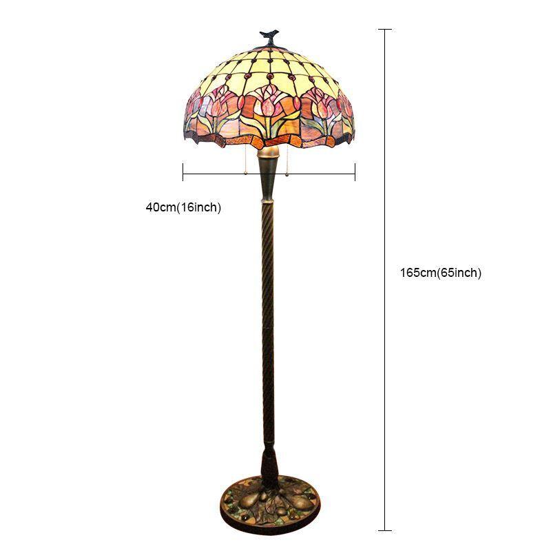 Tiffany Floor Lamp Handmade Stained Glass Shade Elegant