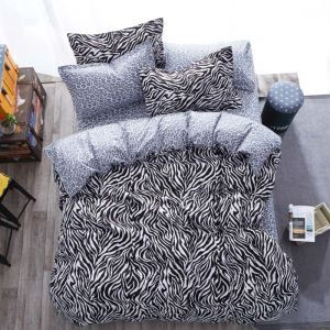 Modern Simple Bedding Set Zebra Grain Printing Pattern Bedclothes Comfortable 4pcs Duvet Cover Sets