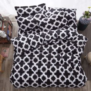 Nordic Simple Bedding Set Popular Geometric Pattern Bedclothes Boys 4pcs Duvet Cover Sets