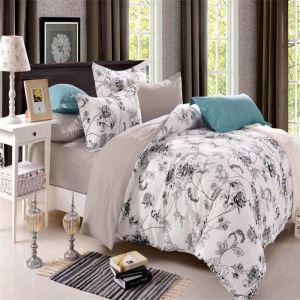 Retro Simple Bedding Set Ink Flower Printing Pattern Bedclothes Soft 4pcs Duvet Cover Sets