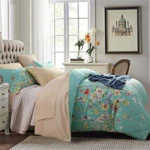 Rural Simple Bedding Set Blue Floral Clothes Soft 4pcs Duvet Cover Sets