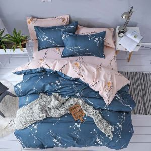 Rural Simple Bedding Set Plum Blossom Design Bedclothes Contrast Soft 4pcs Duvet Cover Sets