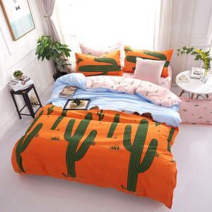 Modern Cartoon Bedding Set Orange Cactus Bedclothes Children's Favorite Bedding Sets 4pcs