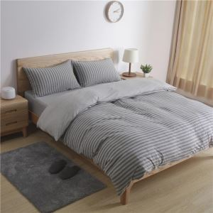 Nordic Simple Bedding Set Gray Stripes Cotton Bedclothes Anti Allergy 4pcs Duvet Cover Sets