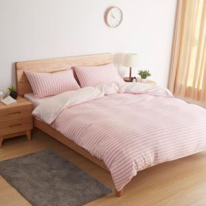 Japanese Simple Bedding Set Environment Protective Cotton Bedclothes Pink Stripes Antistatic 4pcs Duvet Cover Sets