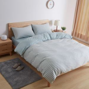 Korean Style Bedding Set Blue Stripes Cotton Bedclothes Anti Allergy 4pcs Duvet Cover Sets