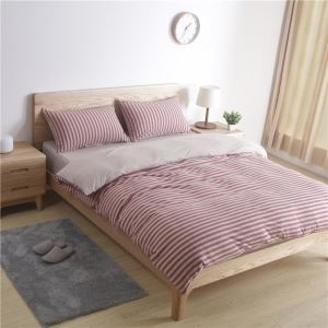 Japanese Retro Bedding Set Brownish Red Stripes Cutton Bedclothes Soft Breathable 4pcs Duvet Cover Sets