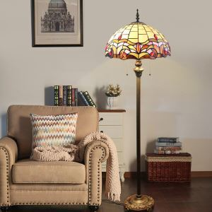Tiffany Floor Lamp Hand with Antique Europe Style Handmade Stained Glass Shade