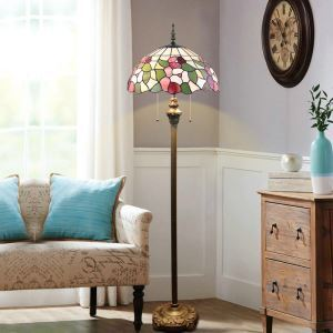 Pull Chain Floor Lamp with Stained Glass Shade Flowers