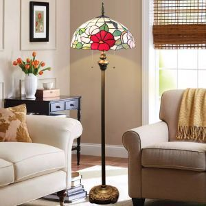 Floor Lamp with Double Pull Chain Tiffany Style Shade Flowers