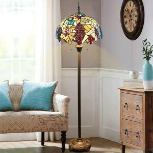 Floor Lamp with Double Pull Chain Tiffany Style Shade Grapes