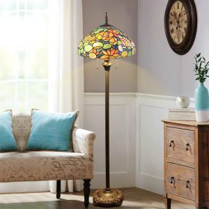 Floor Lamp with Double Pull Chain Tiffany Style Shade