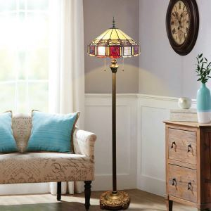 Stained Glass Floor Lamp Bowl Tiffany Shade Standard Lamp with Pull Chain