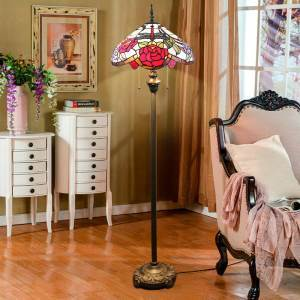 Stained Glass Floor Lamp Tiffany Shade Lamp Rose and Dragonfly