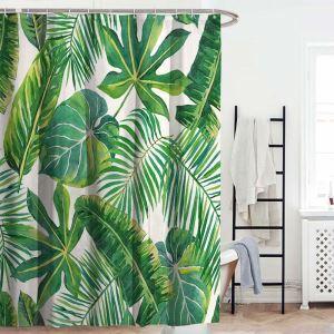 Rural Modern Shower Curtain Natural Green Banana Leaves Printed Bath Curtain