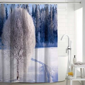 Modern Aesthetic Shower Curtain 3D Lifelike Landscape Printed Shower Curtain