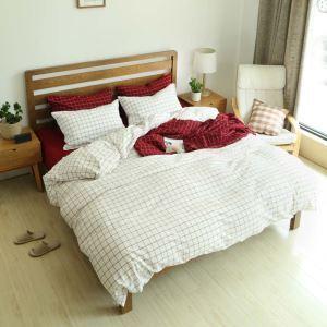 Japanese Simple Bedding Set Fresh Check Bedclothes Pure Cotton Anti Dust Mites 4pcs Duvet Cover Set