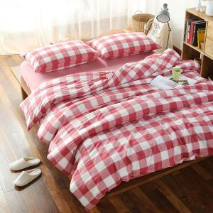American Simple Bedding Set Large Red Check Bedclothes Washed Cotton Anti Dust Mites 4pcs Duvet Cover Set
