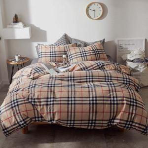 British Style Bedding Set Classical Stripes Bedclothes Soft Washed Cotton 4pcs Duvet Cover Set