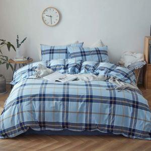 Modern Simple Bedding Set Blue Stripes Bedclothes Washed Cotton Environmental Friendly 4pcs Duvet Cover Set