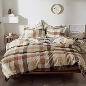 American Retro Bedding Set Coffee Wide Stripes Bedclothes Anti Dust Mites Washed 4pcs Duvet Cover Set