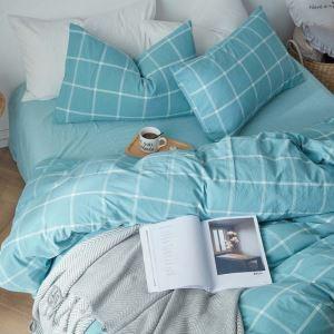 Korean Fresh Bedding Set Large Check Pattern Bedclothes Soft Environmental Friendly 4pcs Duvet Cover Set