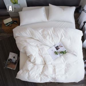 Modern Simple Bedding Set Solid Washed Bedclothes Environmental Friendly 4pcs Duvet Cover Set