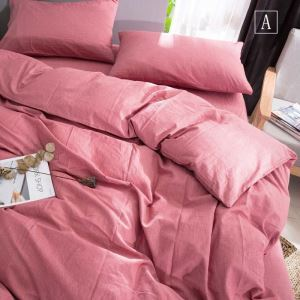 American Simple Bedding Set Solid Environmental Friendly Bedclothes Soft Washed Cotton 4pcs Duvet Cover Set
