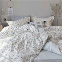 Japanese Simple Bedding Set Rural Little Flower Bedclothes Soft Pure Cotton 4pcs Duvet Cover Set
