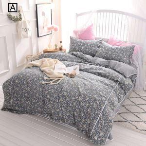 Rural Lace Bedding Set Flower Pattern Bedclothes Sweet 4pcs Cotton Duvet Cover Set