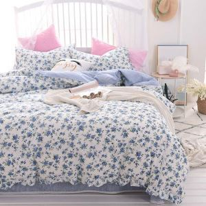 Modern Rural Bedding Set Blue Flower Bedclothes Soft Cotton 4pcs Duvet Cover Set